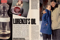 Odone and Lorenzo's oil reported by London Sunday page 1