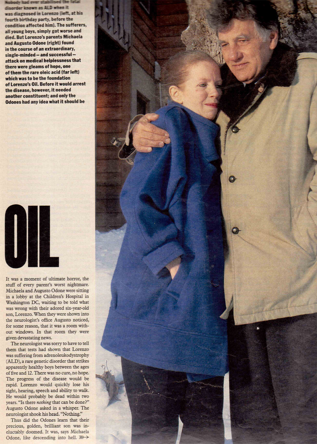 Odone and Lorenzo's oil reported by  London Sunday page 2