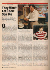 Odone and Lorenzo's oil reported by Newsweek page 1